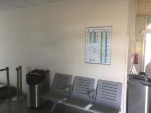Información sobre horario de autobuses interurbanos en la estación de Renfe