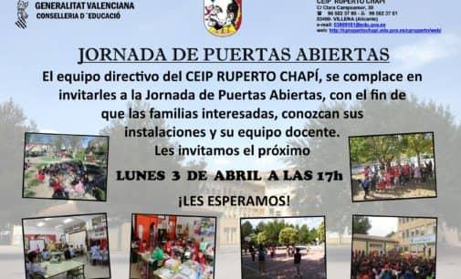El colegio Ruperto Chapí celebrará el próximo lunes, 3 de abril, su Jornada de Puertas Abiertas