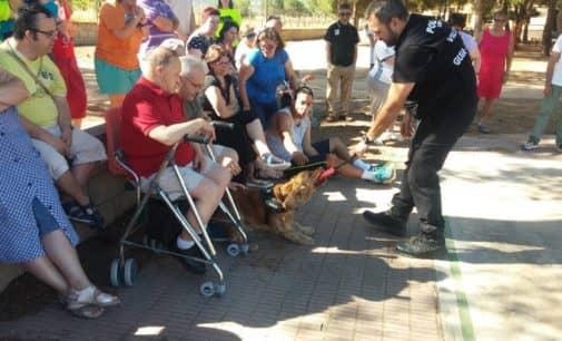 La unidad canina de la Policía Local de Villena visita APADIS