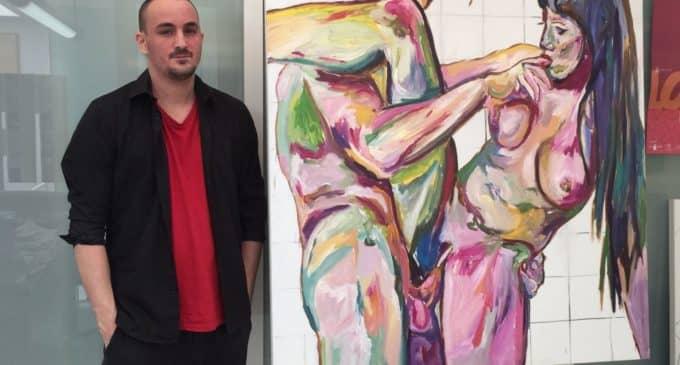 El joven pintor villenense Tomás Navarro Méndez expone sus obras en el Kursaal de Donosti