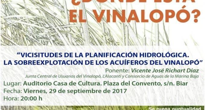 El Observatorio del Vinalopó organiza en Biar una conferencia sobre la sobreexplotación de los acuíferos del Vinalopó