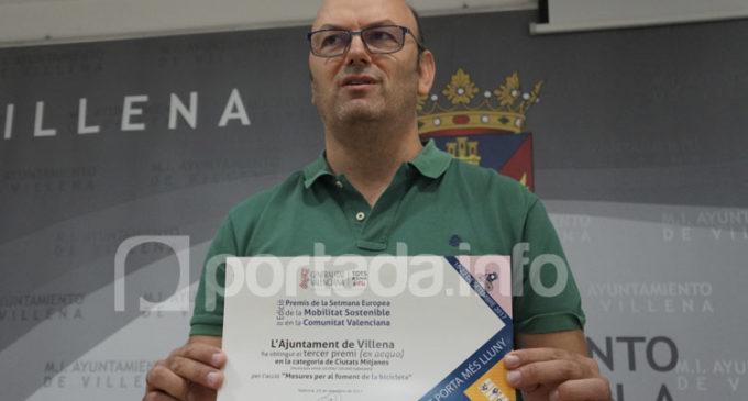 Villena recibe el tercer premio en los galardones de la Semana de la Movilidad  de la Comunidad Valenciana