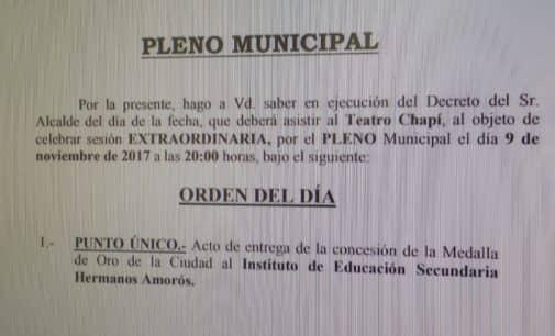 El alcalde convoca un Pleno Extraordinario para la concesión de la Medalla de Oro al IES Hermanos Amorós