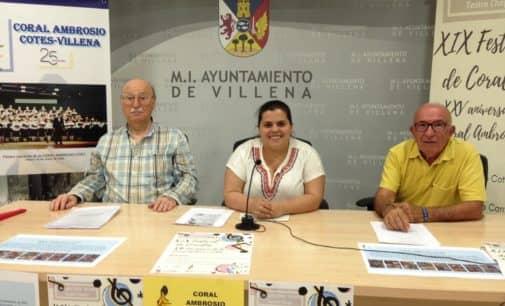 La Coral Ambrosio Cotes invita a los vecinos de Villena a celebrar su XXV aniversario con el XIX Festival de Corales