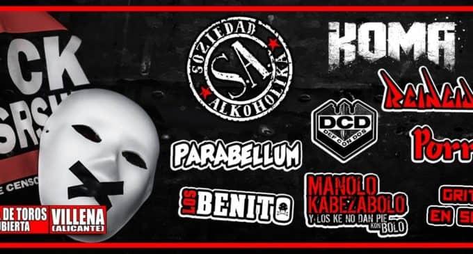 El festival F*ck Censorship vuelve a la plaza cubierta de Villena el sábado 26 de enero