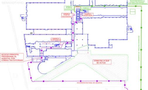 Desvían los accesos al Hospital de Elda por el inicio de las obras de adecuación