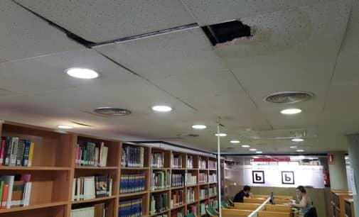 Cae parte de la escayola de la segunda planta de la Biblioteca Miguel Hernández