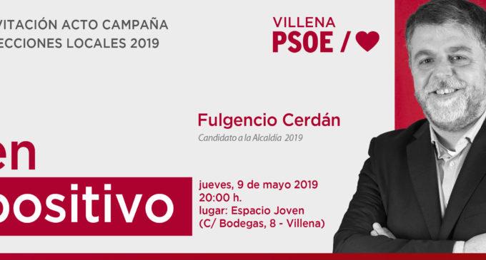 El PSOE de Villena presenta hoy su candidatura y su programa de gobierno para las elecciones municipales