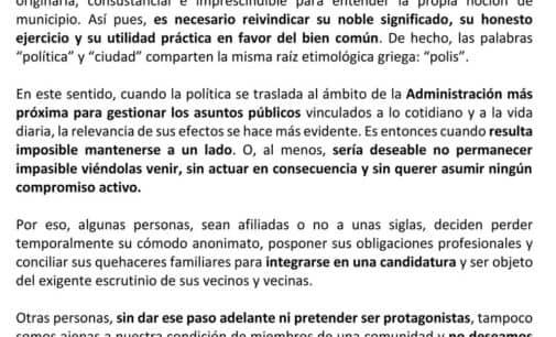 """""""Por una Villena en positivo"""", la plataforma de apoyo a la candidatura del PSOE"""