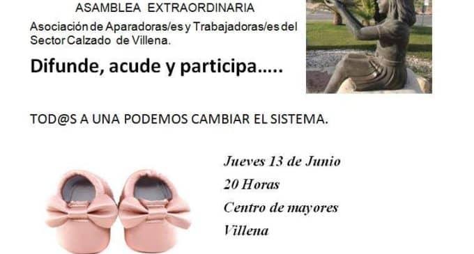La asociación de aparadoras/es y Trabajadoras/es del sector calzado de Villena convoca una asamblea extraordinaria