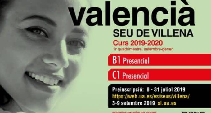 La Sede Universitaria de Villena propone  cursos de valenciano B1 y C1
