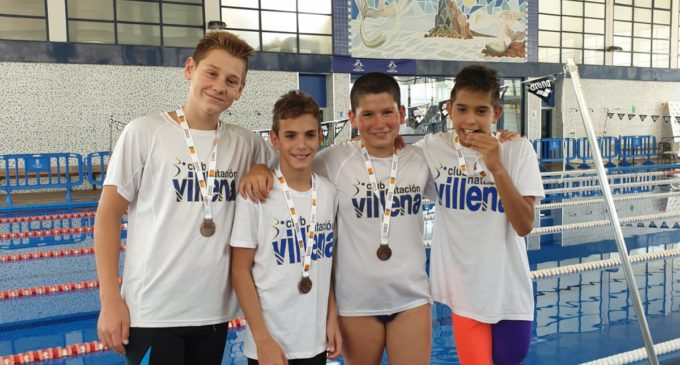 Javier Marí, Marcos Martínez, Pablo y David  Blanes, Bronce  en la prueba de relevos de natación del Jocs Sportius
