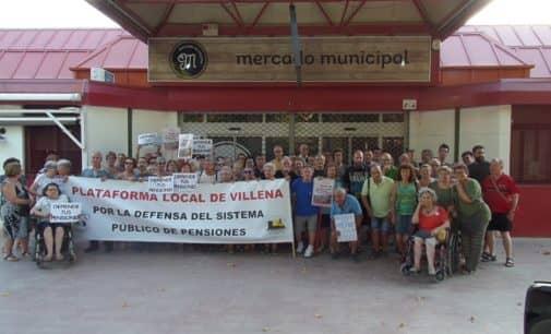 La Plataforma Local de Villena por la Defensa del Sistema Público de Pensiones se concentra hoy en la plaza de la Banda Municipal de Música
