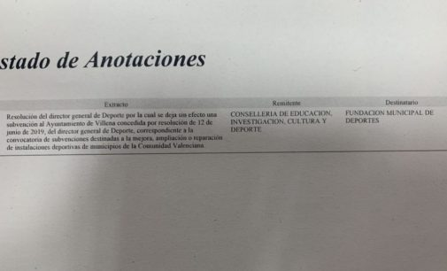 Villena pierde una subvención de 64.000€ concedida para la ampliación del frontón municipal