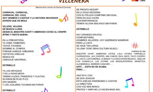 El Carnaval en el colegio Joaquín María López versará sobre «La historia de la Música Villenera»