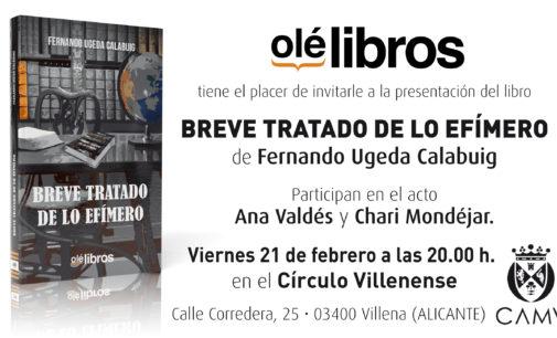 El escritor Fernando Ugeda presenta su libro Breve tratado de lo efímero