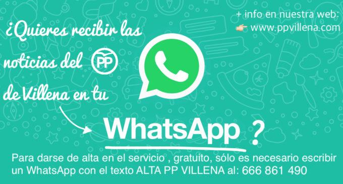 El PP reactiva el canal de WhatsApp para informar a los vecinos de Villena