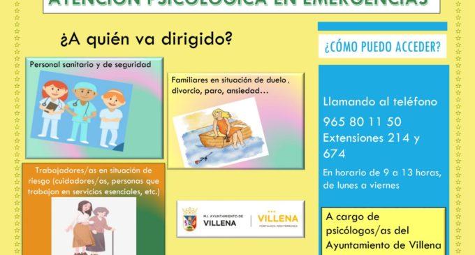 Villena implanta un servicio psicológico por el coronavirus