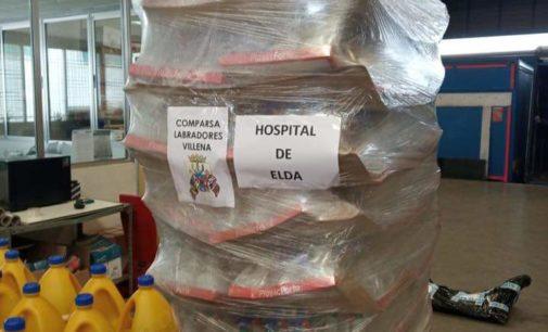 La comparsa de Labradores dona 500 litros de lejía al Hospital de Elda