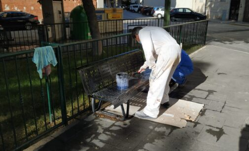 Personal del programa EMCORP lleva a cabo trabajos de pintado y mantenimiento de mobiliario urbano