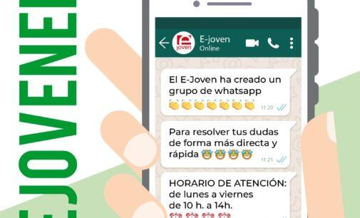 El Espacio Joven crea un grupo de difusión para transmitir información a través de Whatsapp