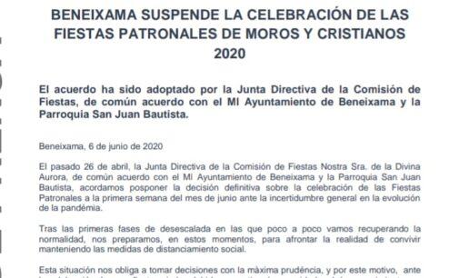 Beneixama suspende sus  Moros y Cristianos