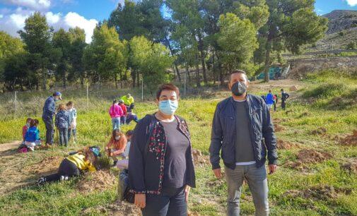 Más de 200 estudiantes del Joaquín María López replantan especies autóctonas en la Rambla del Conejo