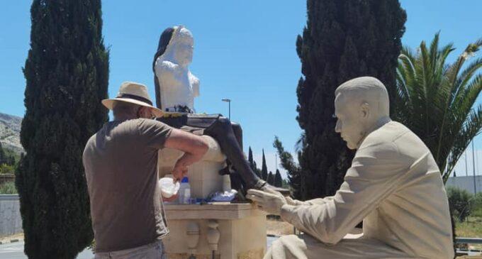 Comienza la restauración de la estatua homenaje al sector calzado